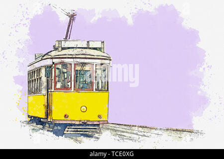 Watercolor sketch or illustration of a traditional yellow tram in Lisbon in Portugal. - Stock Photo