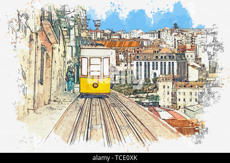 Watercolor sketch or illustration of a traditional yellow tram on a street in Lisbon in Portugal. - Stock Photo