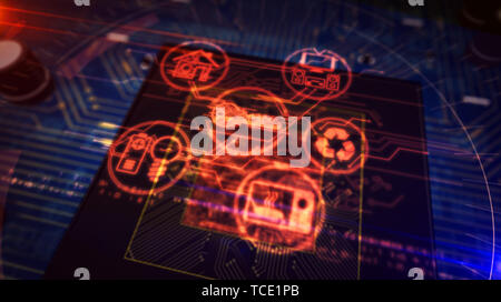 IOT - internet of things symbols hologram over working cpu in background. Circuit board 3d illustration.
