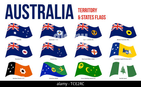 Australia All States, Internal Territories And The External Territory Flags Waving Vector Illustration on White Background. - Stock Photo