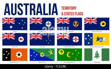 Australia All States, Internal Territories And The External Territory Flags Vector Illustration on White Background. - Stock Photo