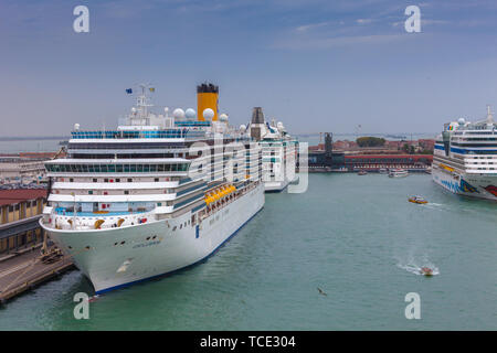 VENICE, ITALY - OCTOBER 27 2018: View of the port of Venice, with big cruise ships ready to sail in a rainy day - Stock Photo