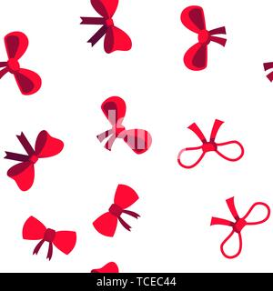 Red Bow And Ribbon Vector Seamless Pattern - Stock Photo