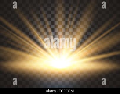 Sunrise, dawn. Vector transparent sunlight. Special lens flare light effect. - Stock Photo