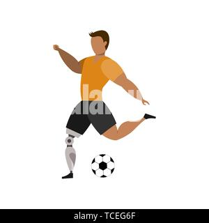 Football player with leg bioprosthesis on a white background. Paralympic Sport Concept. - Stock Photo