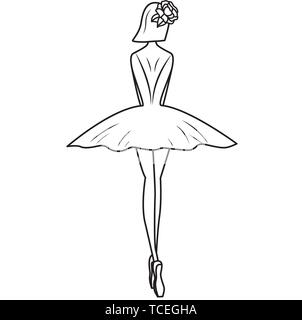Ballerina silhouette with flowers hairpin. Vector illustration on white background - Stock Photo