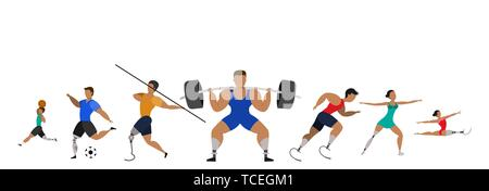 Athletes with prosthetic legs on a white background. Sports poster. - Stock Photo