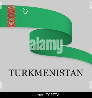 Waving ribbon or banner with flag of Turkmenistan. Template for independence day poster design - Stock Photo