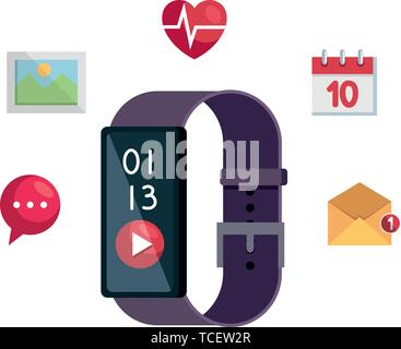 smartwatch with media player button and applications set - Stock Photo