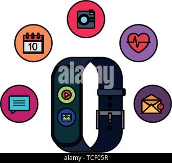 smartwatch with media player button and picture file set apps - Stock Photo