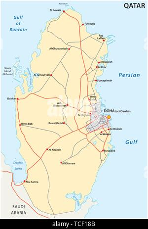 Road Map of the States of Qatar - Stock Photo