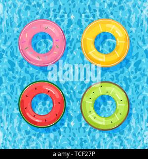 Colorful pool rings on water background Vector. Summer poster inflatable life rings in fruits style - Stock Photo