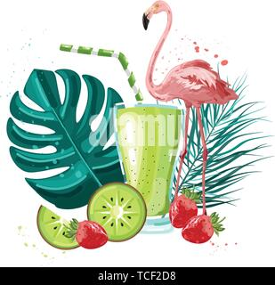 Summer tropic flamingo and fruits smoothie Vector. Summer icon template. Palm leaves and cocktail poster - Stock Photo