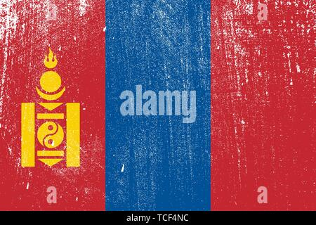 grunge styled flag of Mongolia . Template for your design . Template for your design - Stock Photo