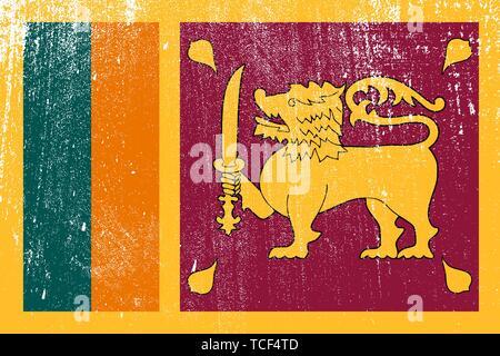 grunge styled flag of Sri Lanka . Template for your design . Template for your design - Stock Photo