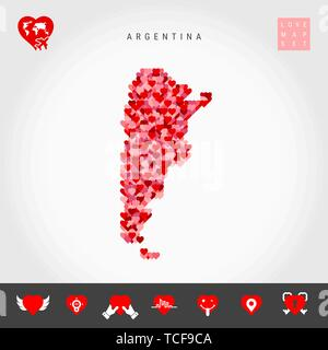 I Love Argentina. Red and Pink Hearts Pattern Vector Map of Argentina Isolated on Grey Background. Love Icon Set. - Stock Photo