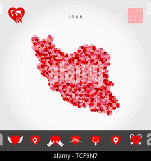 I Love Iran. Red and Pink Hearts Pattern Vector Map of Iran Isolated on Grey Background. Love Icon Set. - Stock Photo