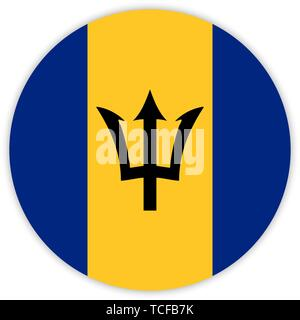 Simple round flag of Barbados . Template for your design . Template for your design - Stock Photo