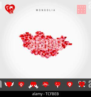 I Love Mongolia. Red and Pink Hearts Pattern Vector Map of Mongolia Isolated on Grey Background. Love Icon Set. - Stock Photo