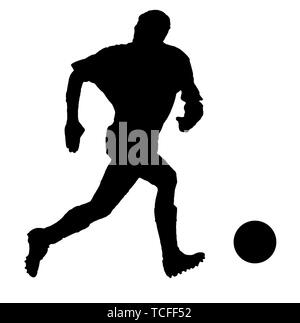 Soccer player as silhouette isolated on white while shooting a football - Stock Photo