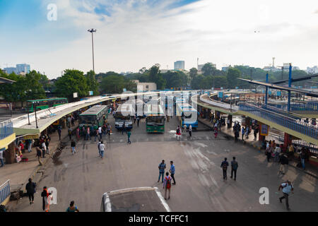 BANGALORE INDIA June 3, 2019:Buses in the Kempegowda Bus Station known as Majestic during morning time traffic congestion - Stock Photo