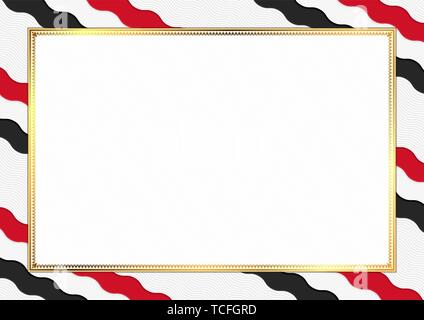Border made with Yemen national colors. Template elements for your certificate and diploma. Horizontal orientation. Vector - Stock Photo