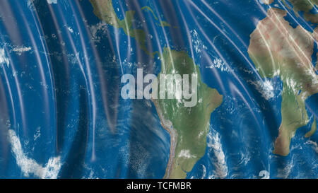 3d rendering of a flag with the texture of the planet Earth. The flag develops smoothly in the wind. Wind waves spread over the flag - Stock Photo