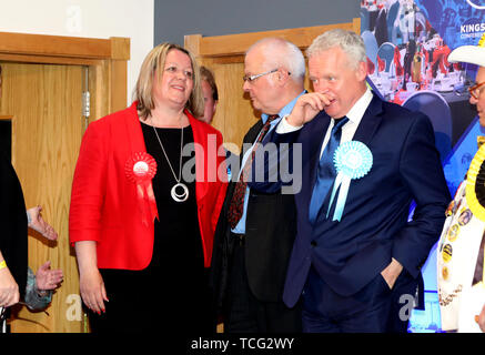 Peterborough, UK. 07th June, 2019. Candidates wait for the results before Lisa Forbes (Labour Party Candidate) became the new Member of Parliament for Peterborough, beating Mike Greene (Brexit Party candidate, 2nd right) into second place and Paul Bristow (Conservative Party candidate) was third. The by-election was held in Peterborough today after disgraced MP Fiona Onasanya was removed from her post as Peterborough MP when over 19,000 signed a recall petition, following her court appearance over a speeding ticket, and her spell in jail. Peterborough by-election, Peterborough, Cambridgeshire, - Stock Photo