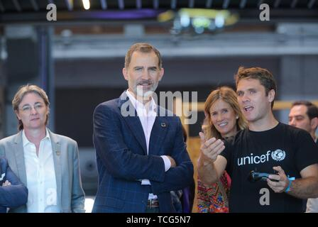 Madrid, Spain. 07th June, 2019. King Felipe VI inaugurates the # Imperdible_04 festival and will tour the more than 20 experiences of the festival together with the president of Cotec, Cristina Garmendia, among other authorities. Credit: CORDON PRESS/Alamy Live News - Stock Photo