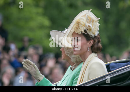 London, UK. 8th June, 2019. Kate and Camilla The Duchesses of Cambridge and Cornwall ride on an open top carriage passing along The Mall to attend  Trooping the colour  ceremony at Horse Guards which celebrates Her Majesty Queen Elizabeth II official 93rd birthday Credit: amer ghazzal/Alamy Live News - Stock Photo