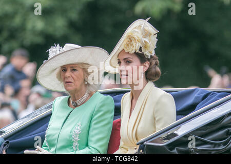 London, UK. 8th June, 2019. Kate and Camilla The Duchesses of Cambridge and Cornwall ride on an open top carriage for the Trooping the colour ceremony to celebrate the Queen's official 93rd birthday Credit: amer ghazzal/Alamy Live News - Stock Photo