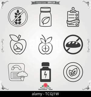 Dietary vector icon, food dietary labels isolated on background Diet icons and labels, food intolerance. - Stock Photo