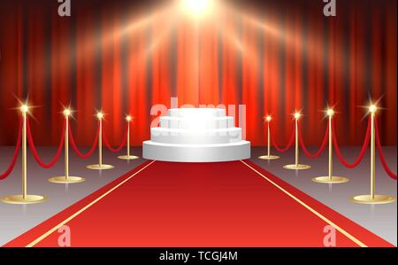 Red event carpet, gold barriers and white stairs Podium on Red curtains background. Vector illustration. - Stock Photo
