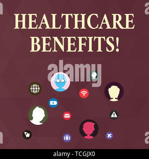 Writing note showing Healthcare Benefits. Business concept for monthly fair market valueprovided to Employee dependents Networking Technical Icons Cha - Stock Photo