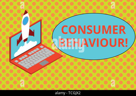 Text sign showing Consumer Behaviour. Business photo showcasing Decisions that showing make to buy or not to buy a product Rocket launching clouds lap - Stock Photo