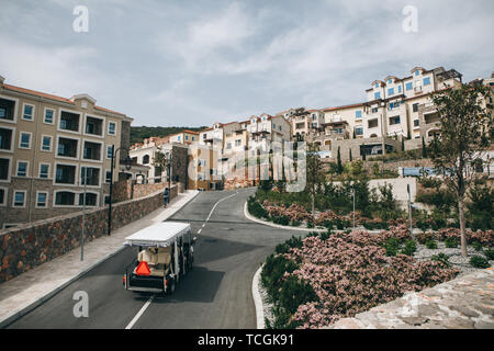 Beautiful view of a modern residential eco-friendly area or district with many small houses. On the road going electric car. - Stock Photo