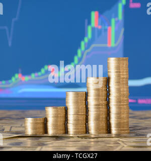 Golden coin stacks arranged as a graph. Increasing columns of coins, step of stacks coin. Business and financial concept idea - Stock Photo