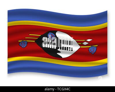 3D Waving Flag of Swaziland . Template for your design - Stock Photo