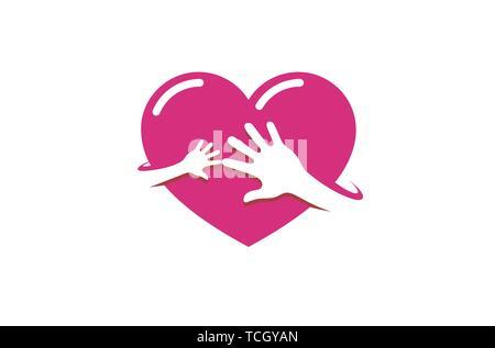 Creative Two Hands Red Heart Logo Design Symbol Illustration - Stock Photo