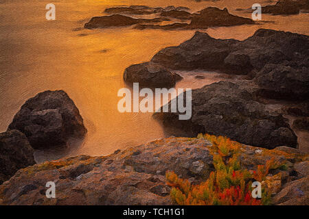 orange sunset over ocean waves with exposed jagged rock formations digital oil painting. - Stock Photo