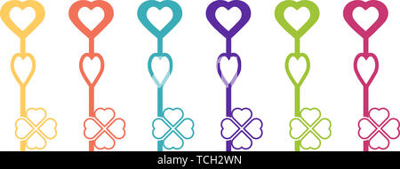 Colored key icon in the shape of an abstract heart - Stock Photo