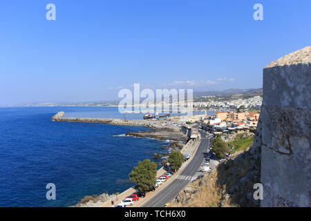 Rethymno Crete Greece View from the fort over the city and harbour - Stock Photo