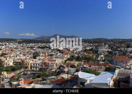 Panoramic view to Rethymno from Fotezza. The Fortezza is the citadel of the city of Rethymno in Crete, Greece. - Stock Photo