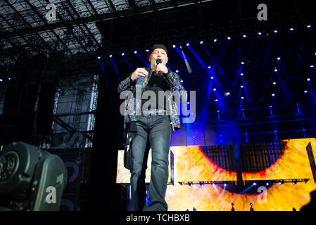 Vasco Rossi performs live on stage at San Siro Stadium during his non stop live music 2019 in Milano. - Stock Photo