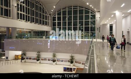Istanbul, Turkey - April 19, 2019: lobby with escalator of new Istanbul International Airport, Istanbul Yeni Havalimani. Operating from October 2018 - Stock Photo