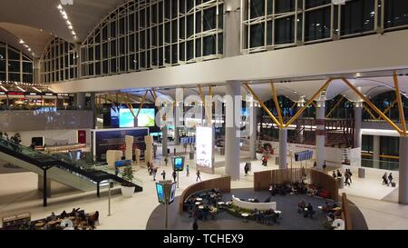 Istanbul, Turkey - April 19, 2019: lobby and escalator of new Istanbul International Airport, Istanbul Yeni Havalimani. Operating from October 2018 - Stock Photo