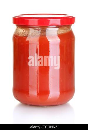 Jar with tomato paste isolated on white - Stock Photo