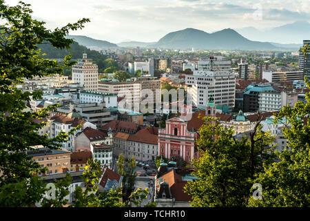 Slovenia, Ljubljana 24.5.2019: Ljubljana city center and Presern square aerial view, capital of Slovenia - Stock Photo