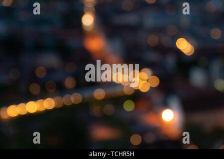 light night bokeh city blur at night, background photo - Stock Photo