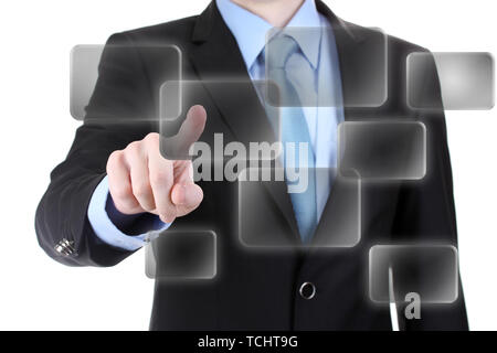 business man in suit pointing on screen isolated on white - Stock Photo